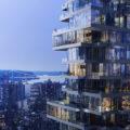 ヘルツォーク&ド・ムーロンの設計による超高層タワーマンションの建築中の写真